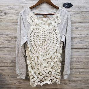 Sundance Gray and Cream Crocheted Blouse